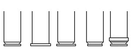 左からリムレス、リムド、セミリムド、リベイテッド、ベルテッド